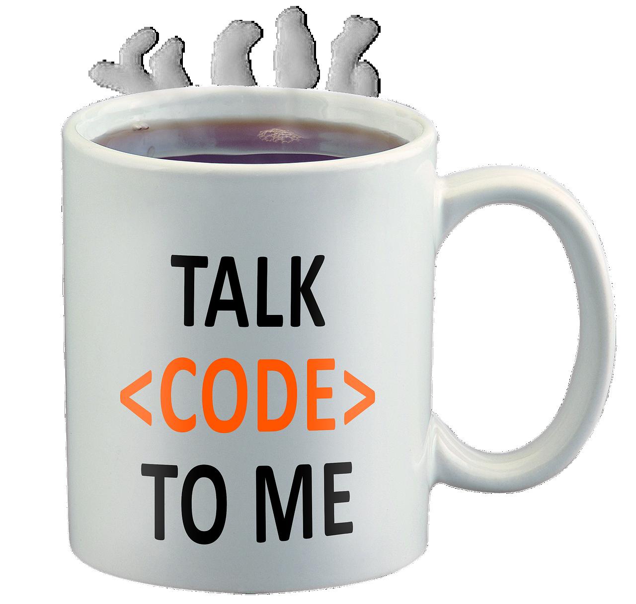 code geek, talk code to me, coffee cup